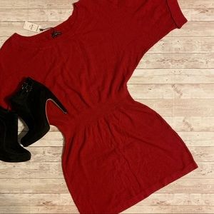 Express Red Knit Sweater Dress w/ cuffed sleeves
